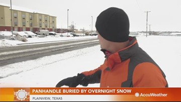 Overnight winter storm leaves Texas panhandle buried in snow