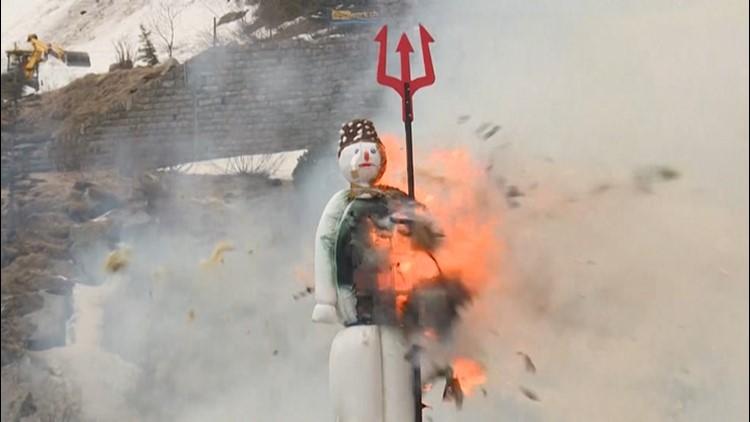Exploding snowman delivers unique weather forecast