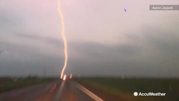 Lightning lighting up the night sky as severe weather continues