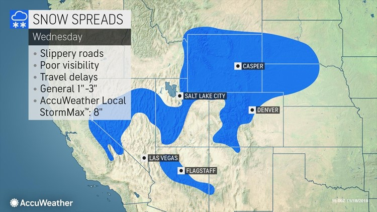 Snow to streak from Rockies to Upper Midwest at midweek