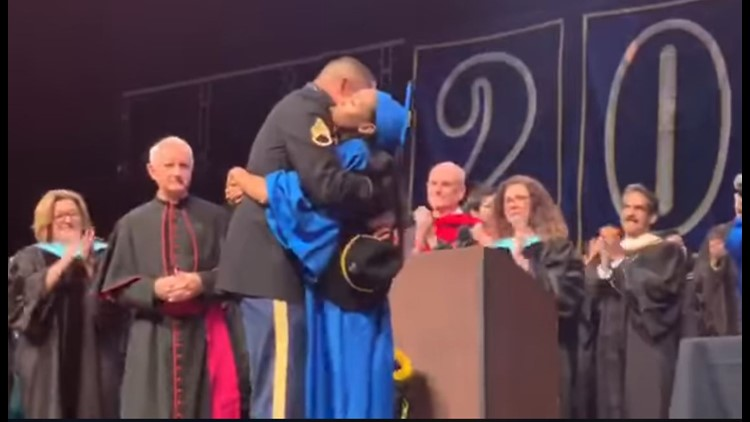 MILITARY REUNION: Dad surprises daughter at graduation after 10 years apart