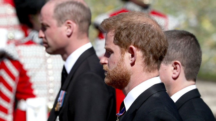 Harry and William seen chatting together after royal funeral
