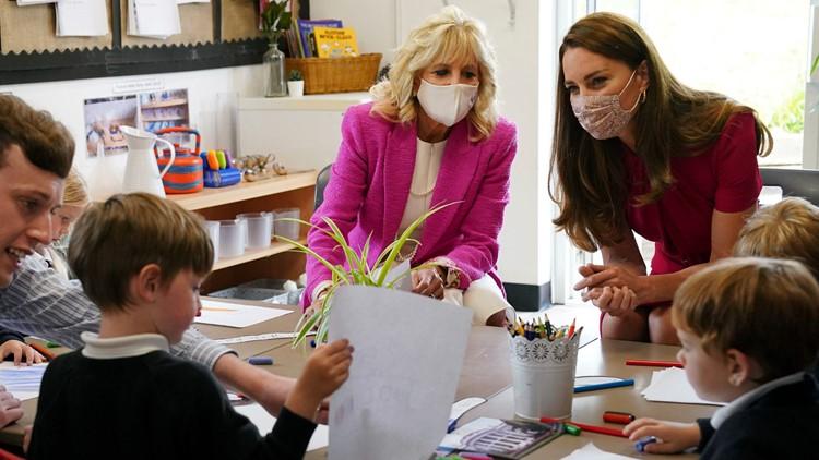 Jill Biden, Duchess of Cambridge learn bunny care on tour
