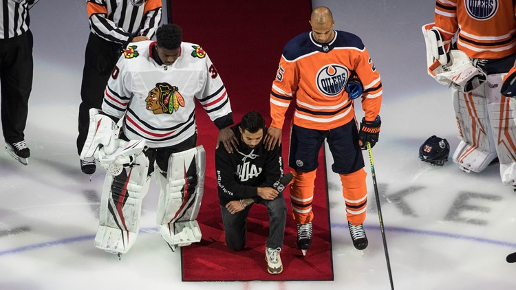 Minnesota's Matt Dumba is first NHL player to kneel during national anthem
