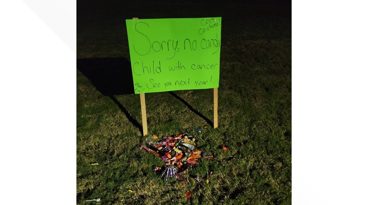 'Sorry, no candy, child with cancer' | Trick-or-treaters leave goodies for 3-year-old with leukemia