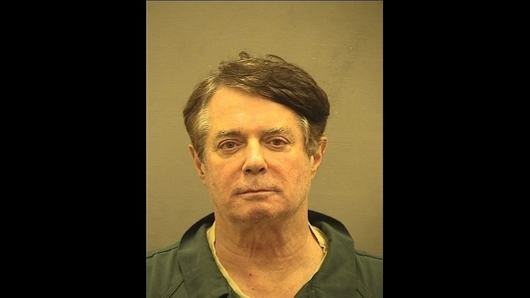 Paul Manafort, the former chairman of Donald Trump's presidential campaign, arrives Thursday at an Alexandria detention center.