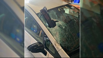 'I'm just glad nothing worse happened': Chunk of metal pierces woman's windshield