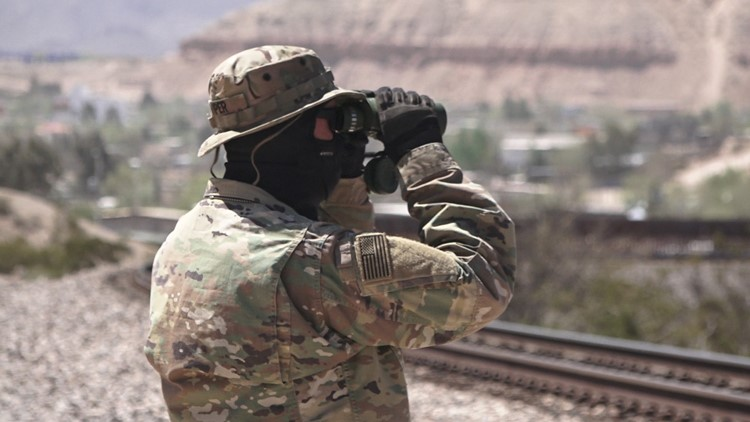 'Viper' looks out for migrants hiding in train boxcars near the border with Mexico.