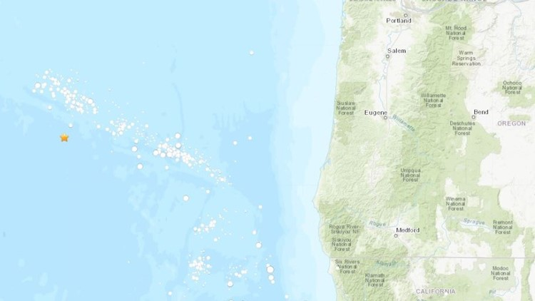 Map of earthquake off Oregon Coast on Aug. 9, 2019