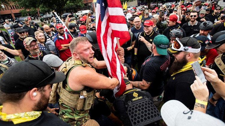 At least 13 arrested, several confrontations during opposing protests in Portland