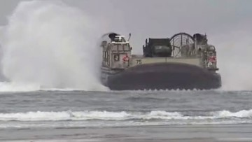 Watch: US Navy lands two massive hovercrafts on Oregon beach