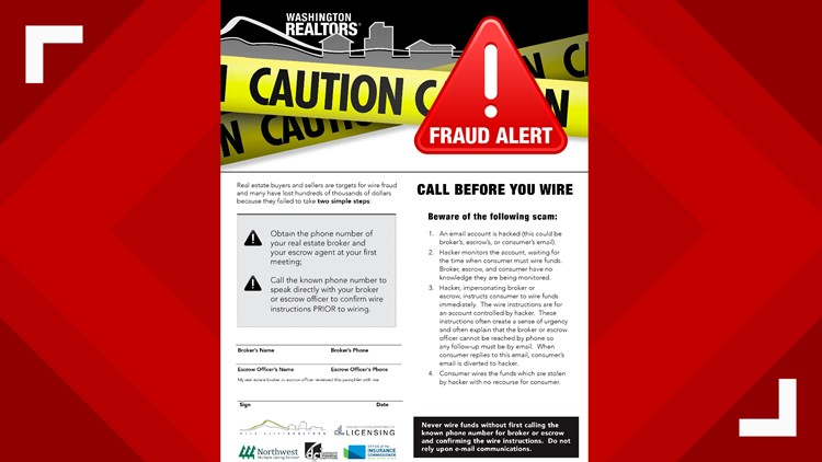 Washington Realtors Association flier warning against wire fraud