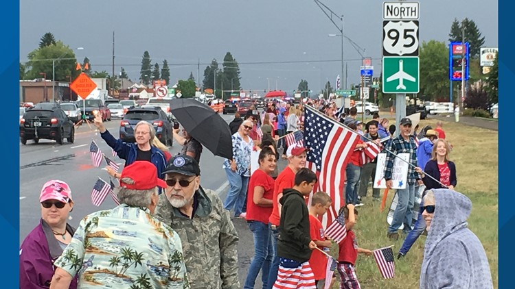 Dozens give wounded veteran a hero's welcome in north Idaho