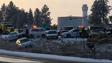 Pileup on I-90 in Spokane included 35 crashes on 10-mile stretch
