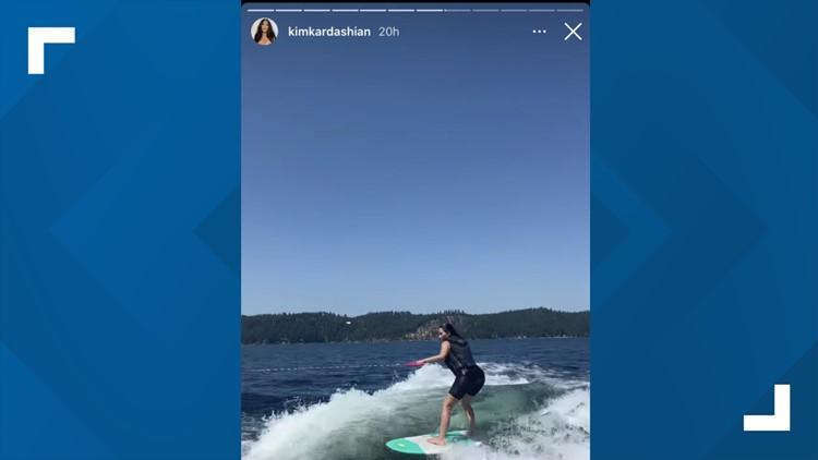 Kim Kardashian trying to keep up while wakesurfing in Coeur d'Alene