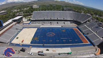Timelapse shows installation of Boise State's blue turf