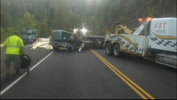Lumber truck crash causes delays near Council
