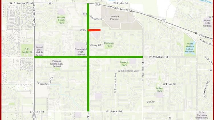 ACHD roadwork map for Cloverdale Road Boise