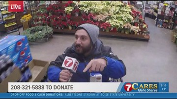KTVB reporter rides in Albertsons shopping cart for 7Cares Idaho Shares day of giving