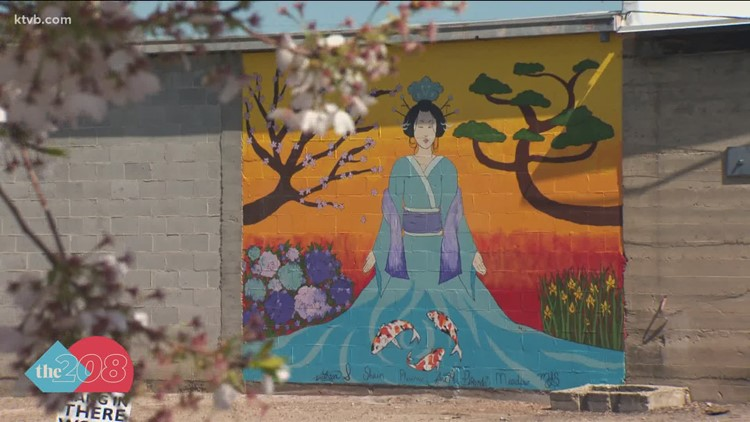Student makes mural of Japanese densho garden in downtown Caldwell