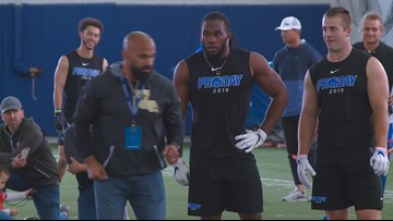 Former Broncos work out one last time in Boise during the team's Pro Day event