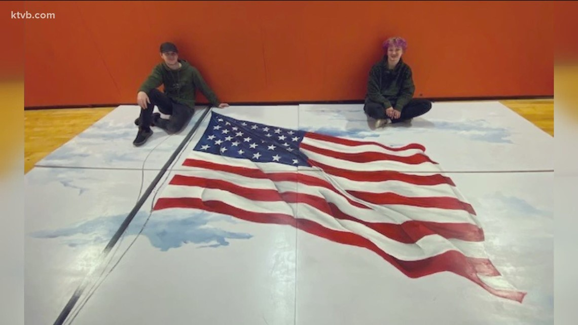 7's HERO: Mountain Home High School senior paints American flag mural for the gym