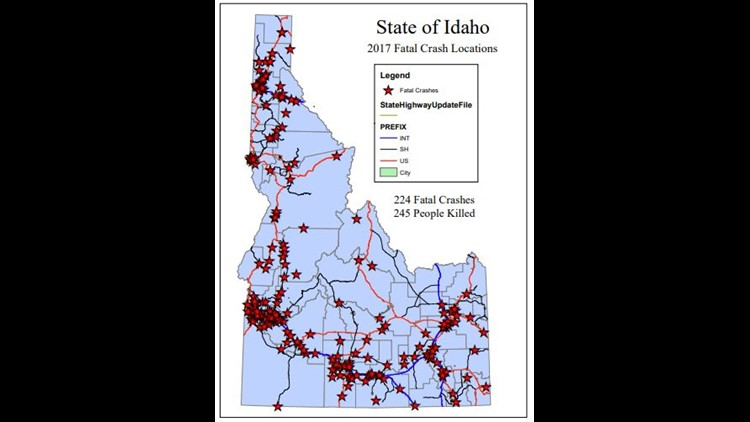 Fatal accident locations across Idaho in 2017