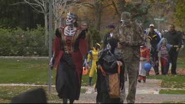 Harrison Boulevard in Boise closed to traffic for Halloween trick-or-treating
