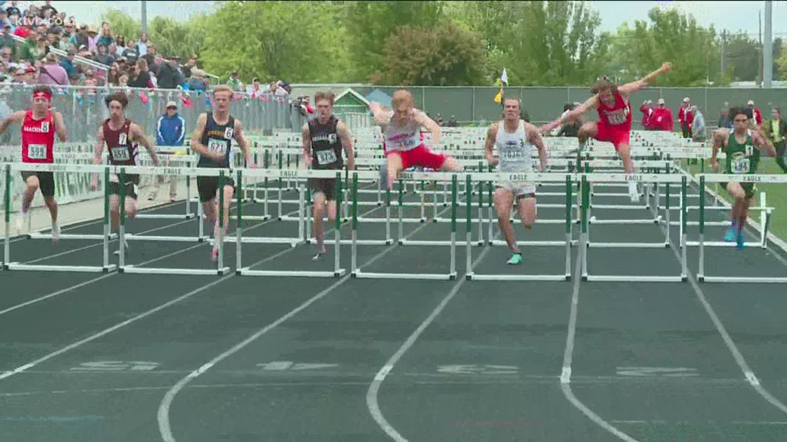 5A state track championship: 200, 400, 1600 meter race; 100, 110 meter hurdles