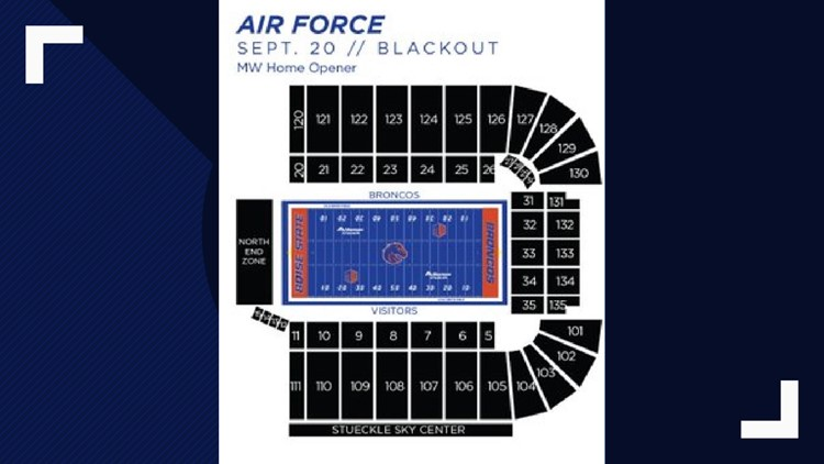 Air Force vs. Boise State seating color scheme