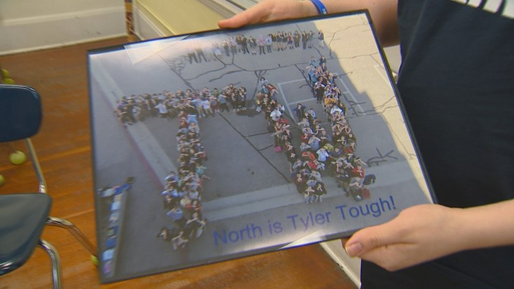 The kids at North Junior High took this photo to show Tyler Weiss support during chemotherapy for aggressive Leukemia.