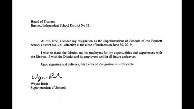 Wayne Rush resignation letter