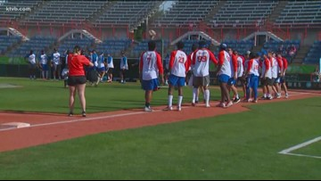 Boise State football players trade the Blue for the diamond during the Broncos' Summer Softball Classic