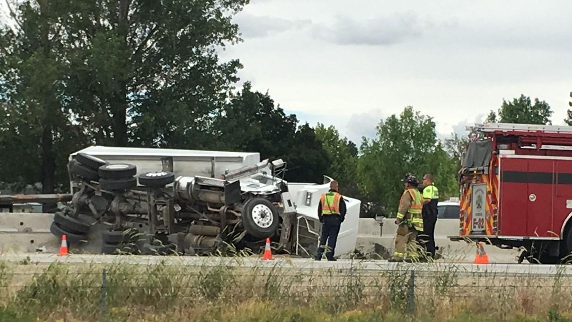 Dump truck overturns on I-84, causing major backups | ktvb com