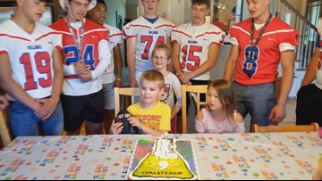 Nampa High School football team stays humble after little boy's birthday party goes viral