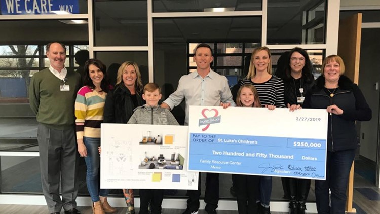 The DeLuca family presented a check for $250,000 to St. Luke's for a new family resource center, the money was raised at the 2019 Jayden DeLuca Masquerade Ball.