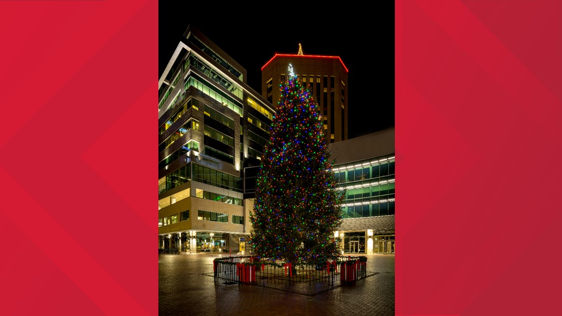 Boise Holiday Tree set up in Grove Plaza Monday morning