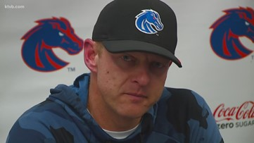 Boise State coach Bryan Harsin explains the Broncos' 20-17 win over Wyoming