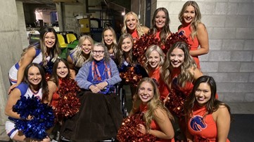 Boise State president shares a visit to the blue with her 91-year-old mom