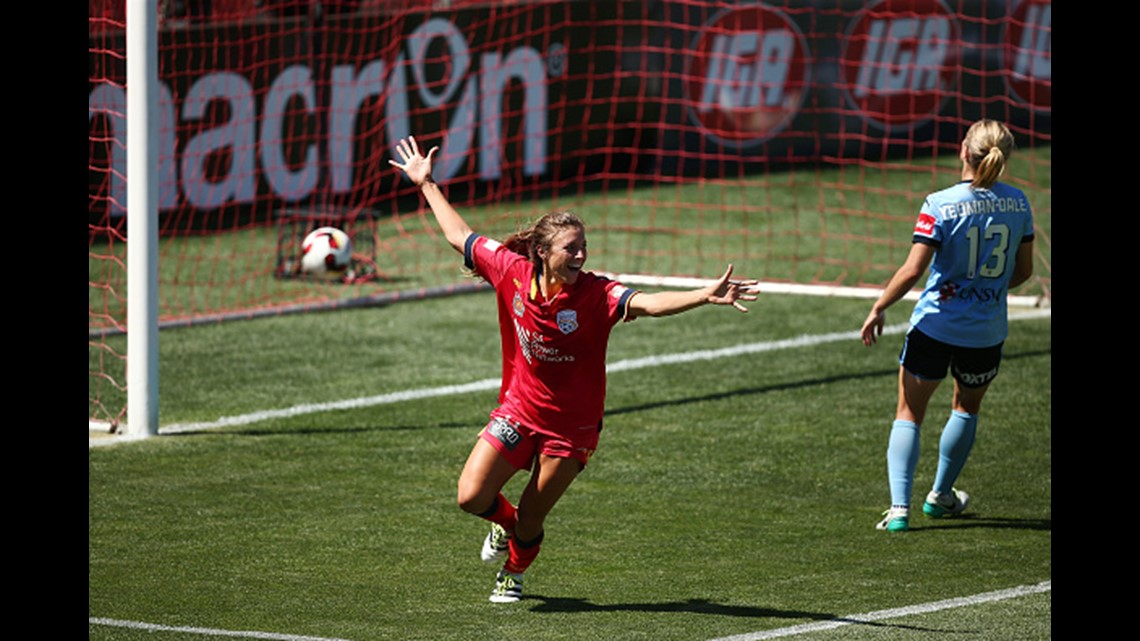 fdbc8f843 Sofia Huerta of Adelaide United celebrates after she scored a goal during  the round 14 W-League match between Adelaide United and Sydney FC at  Coopers ...