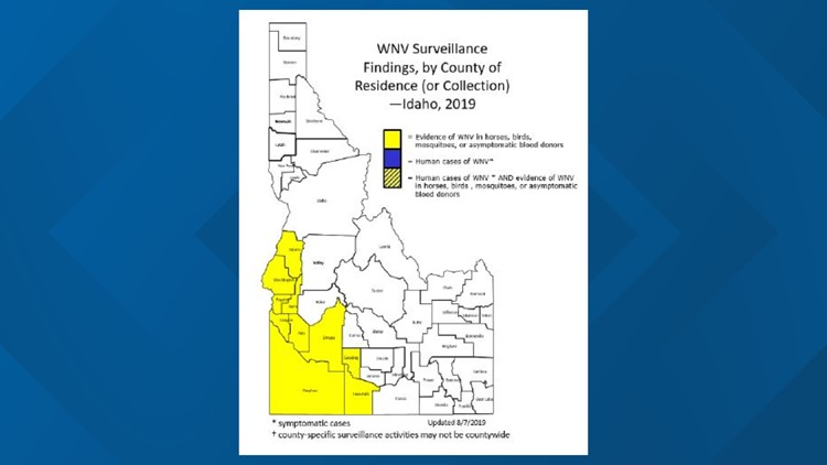 Mosquitoes with west nile in idaho map