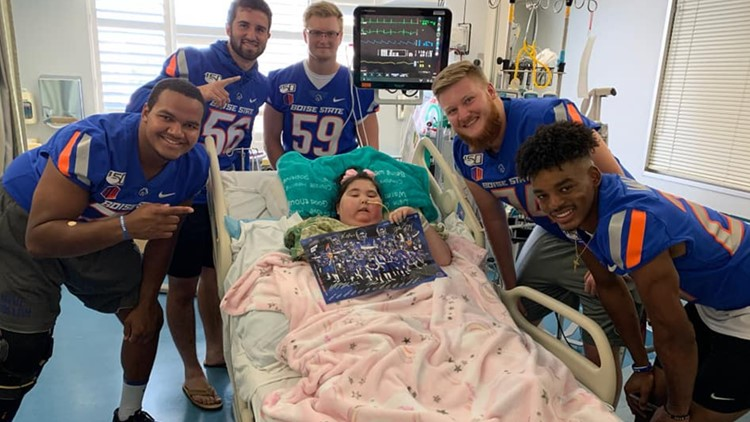 Boise State Football players visited Claire at the hospital in September.