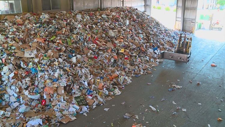 Piles of recycling at Western Recycling in Boise