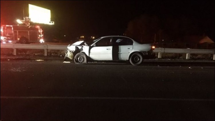 A five-vehicle crash sent multiple people to the hospital and blocked westbound I-84 for hours overnight.