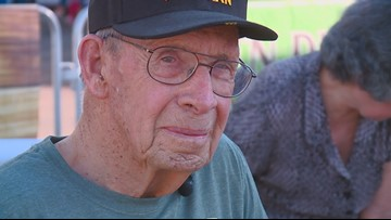 WWII veteran tosses out first pitch at Boise Hawks game
