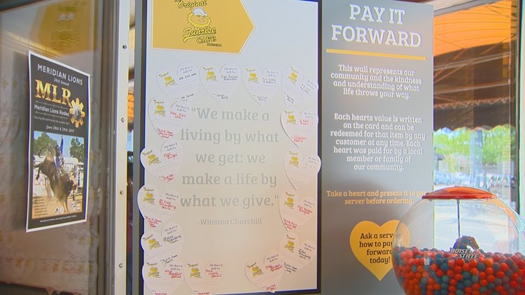 The Pay it Forward wall at The Original Sunrise Cafe on Main Street in Meridian.