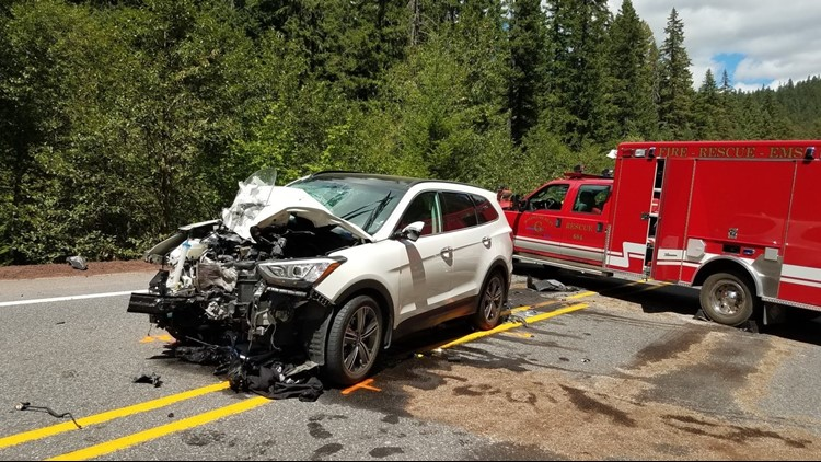 Oregon State Police say the motorcyclist clipped a minivan, then collided head-on with an SUV on highway 22-E in Linn County.