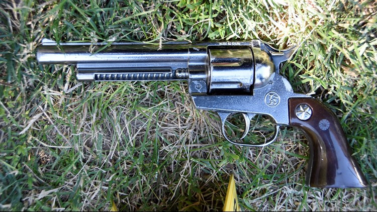 This is the replica of a western-style revolver that Meridian police said Robert Lyle Barton pointed at officers.
