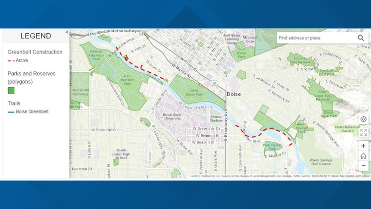 Scheduled projects on Boise Greenbelt begin Monday