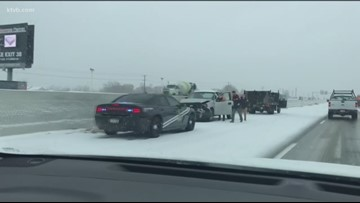 Snowy conditions cause dozens of wrecks
